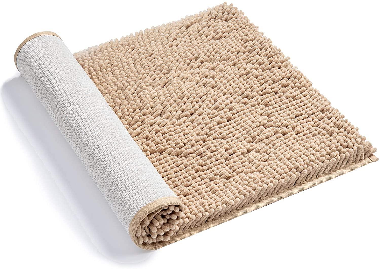 AmazerBath Bathroom Rug, Chenille Bath Mat, Non-Slip, Soft Shaggy, Ultra Water Absorbent, Machine-Washable Shower Rug for Bathroom Bedroom, 17 x 24 Inches Beige