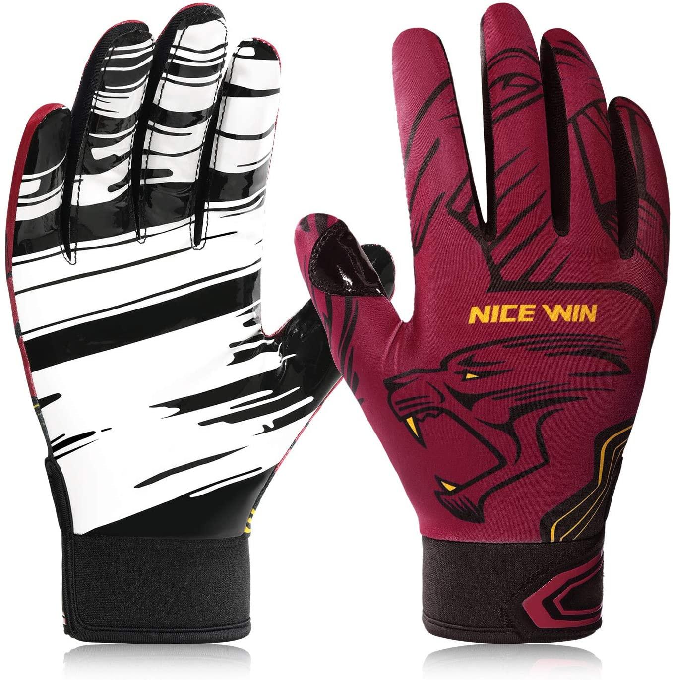 NICEWIN Football Gloves Batting Baseball Glove Fashion Leopard Print Breathable Mesh Antiskid Silicone for Adult Youth Kids Men Women