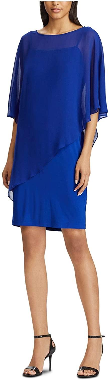 Ralph Lauren Womens Navy Sheer Spaghetti Strap Square Neck Knee Length Fit + Flare Evening Dress Size 12