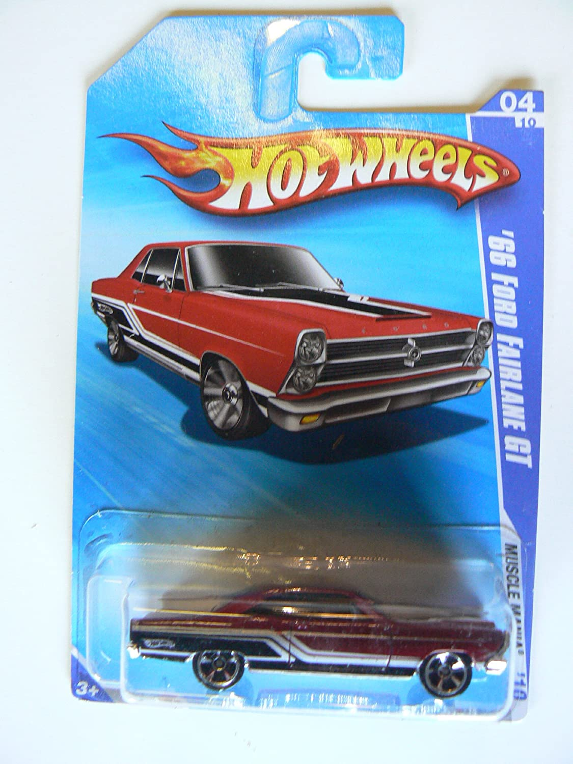 Hot Wheels 2010 '66 Ford Fairlane GT Muscle Mania Maroon W/ Black and White Stripes