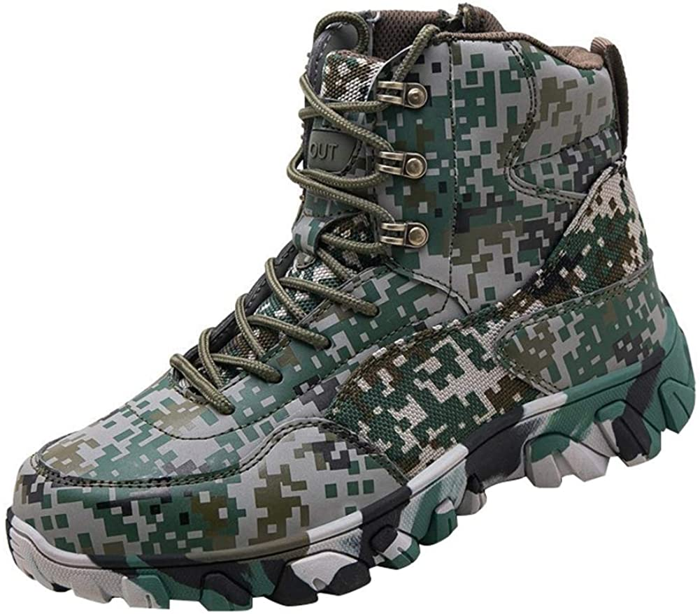 Icegrey Unisex Outdoor High Top Lightweight Anti-Slip Trekking Breathable Hiking Camouflage Boots