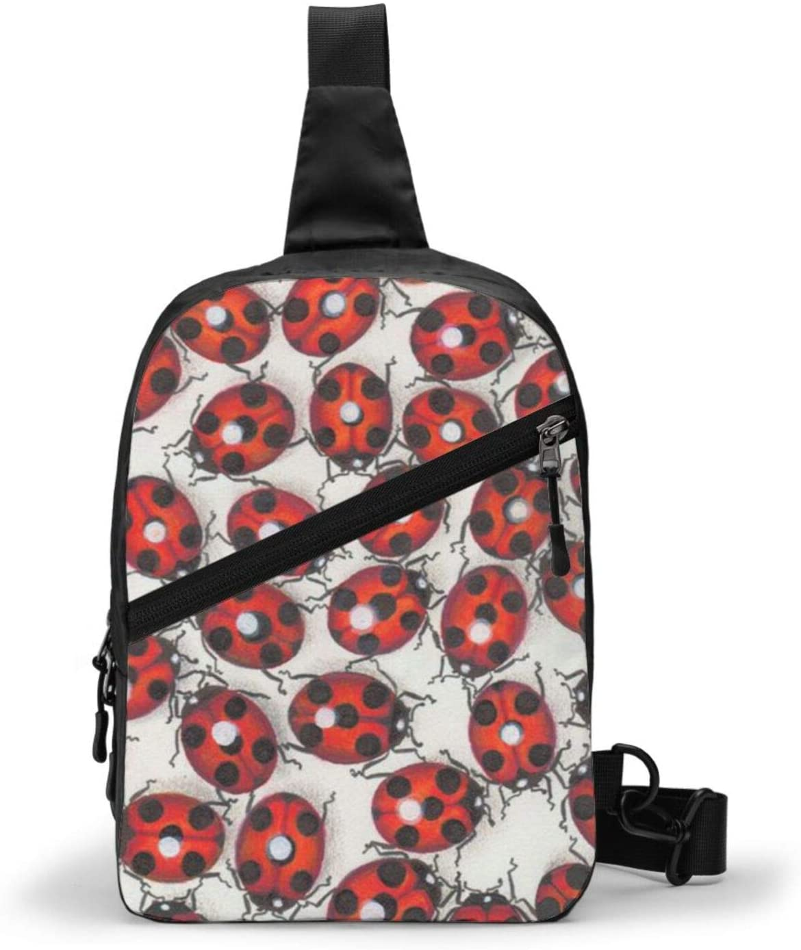 Neddelo Ladybugs Crossbody Bag,Portable Chest Bags,Folding Chest Bag, Men's and Women Sling Bag for Travel,Hiking, Cycling,Camping