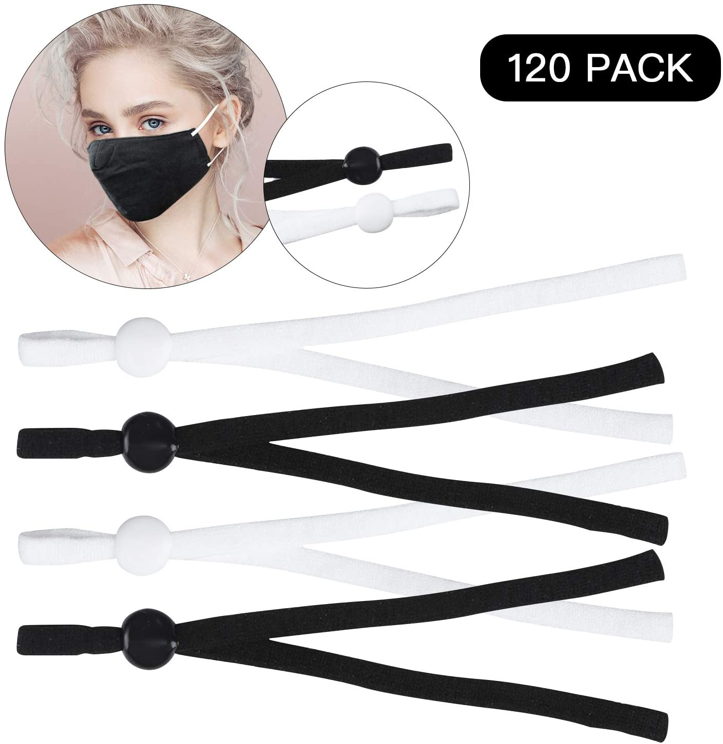 HOTYELL 120 Pcs Elastic String for Masks with Cord Locks, Premium Elastic Bands Cord Rope for Sewing, Toggles for Drawstrings (60 Black + 60 White, 120 Pack)
