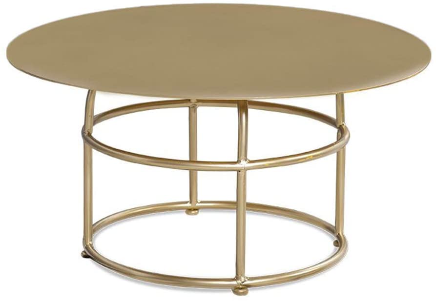 ALIPC Golden Iron Art Small Round Table, Living Room Sofa Table Bedroom Casual Reading Table Small Tea Table Balcony Small Coffee Table Tea Table, Metal