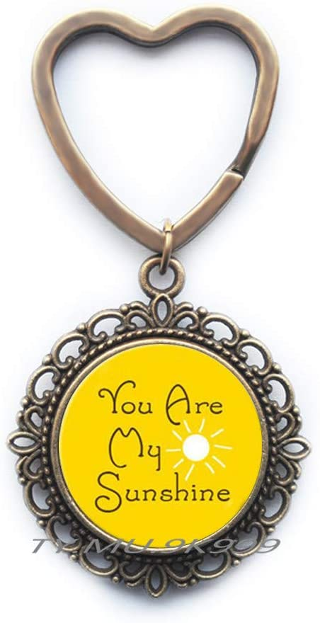 You are My Sunshine Keychain with Sunshine,Hand Key Ring,Inspirational Quote,Gift for Her,Christmas Gift,Mother's Day.Y056