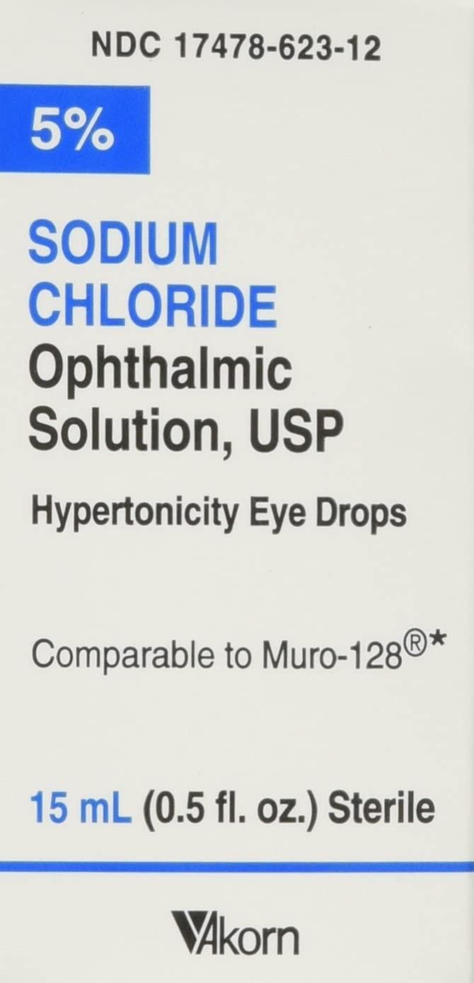 Akorn USP 5 Sodium Chloride Ophthalmic Solution, 0.5 Fluid Ounce