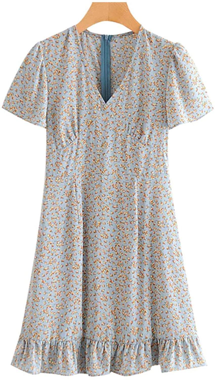 Women 2020 Chic Fashion Floral Print Ruffled Mini Dress Vintage V Neck Short Sleeve L