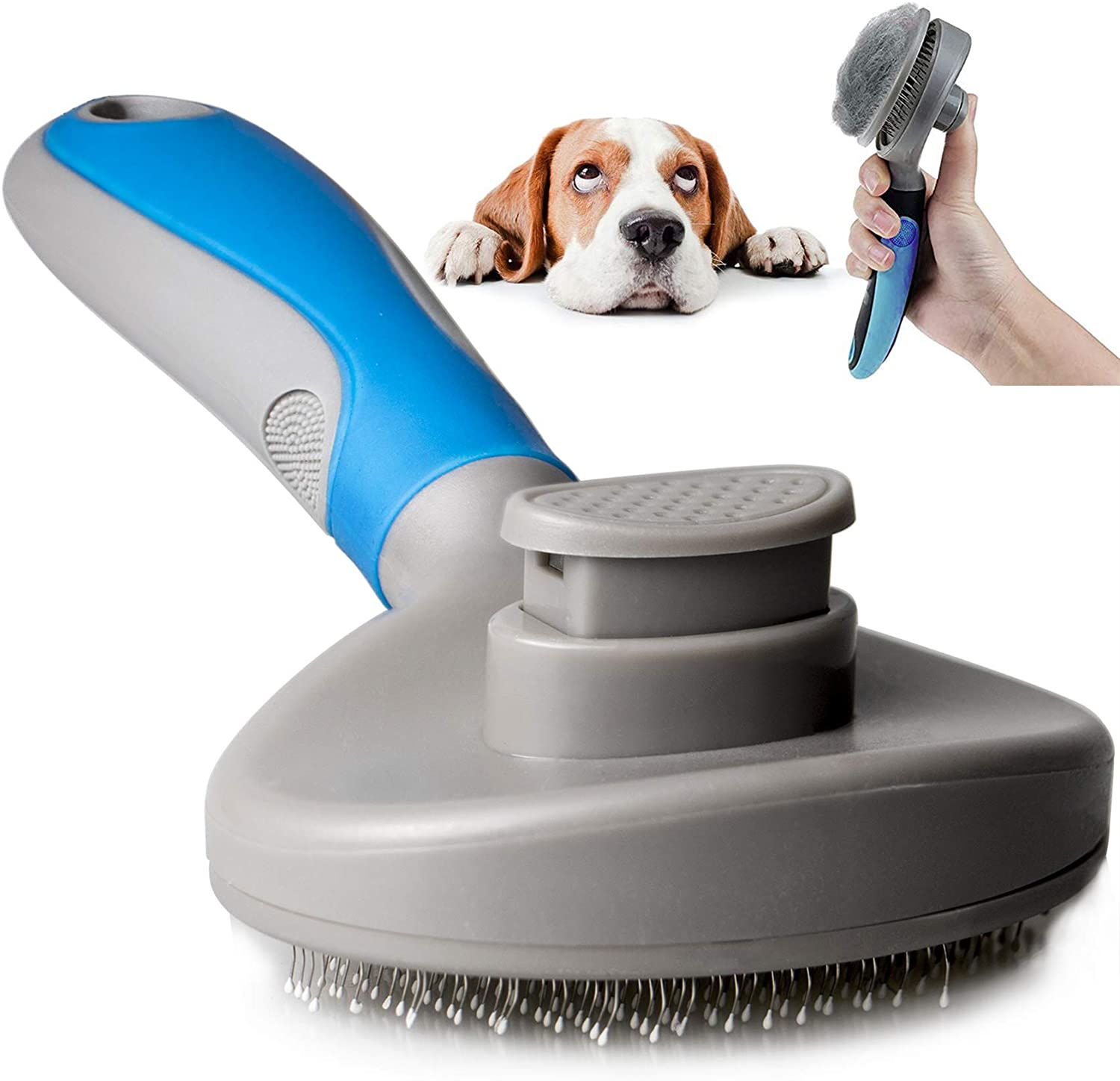 DAMGOO Dog Hair Brush Self Clean Pet Slicker Brush Puppy Shedding Grooming Tool Ergonomic Hair Remover for Dogs Long Hair Cats