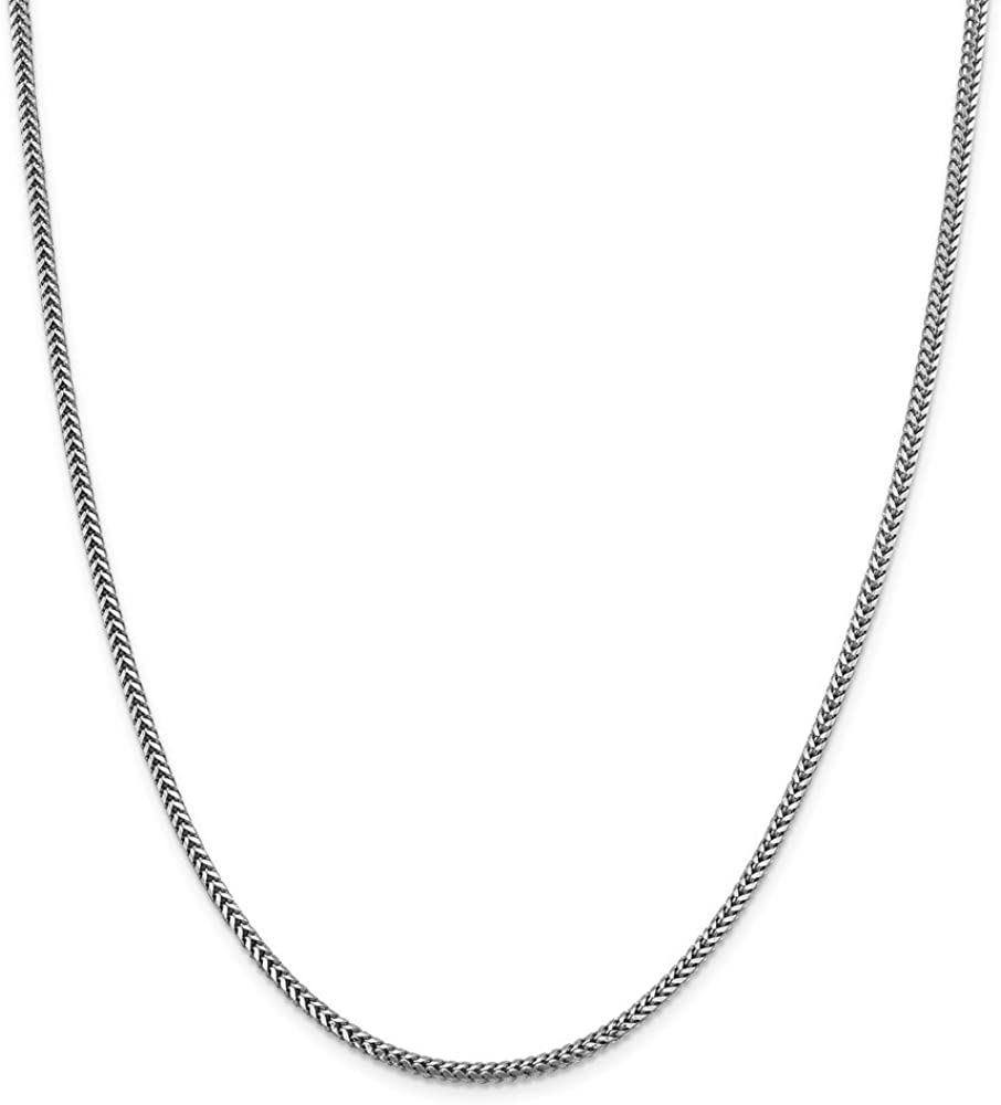 14k White Gold 2.3mm Franco Chain Necklace for Men Women