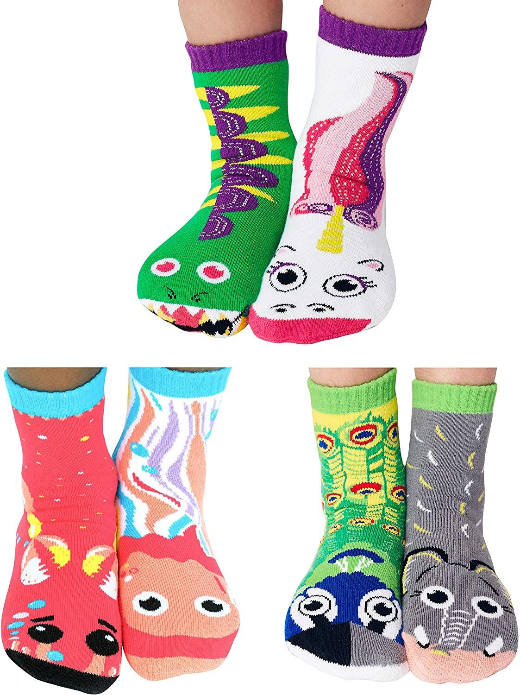 Color Kaboom Sox Box | 3 Pair Mismatched Funky Kids Socks (Age 4-8) Dragon/Unicorn, Crab/Jellyfish, Peacock/Elephant | Nonskid No Slip Grips