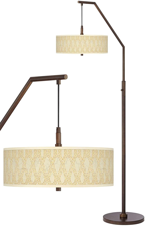 Roman Pebbles Bronze Downbridge Arc Floor Lamp - Giclee Glow
