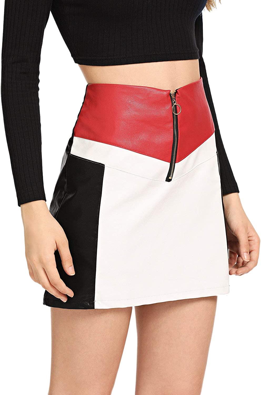 WDIRARA Women's High Waist Zip Up Front Color Block Pencil Mini Skirt
