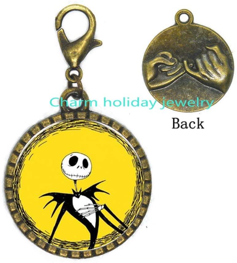 Jack Skellington Zipper Pull-Christmas Jewelry-Jack Skellington Lobster Clasp Chain Zipper Pull-Christmas Gift Halloween Gift Bridesmaid Jewelry Unique Jewelry-#347