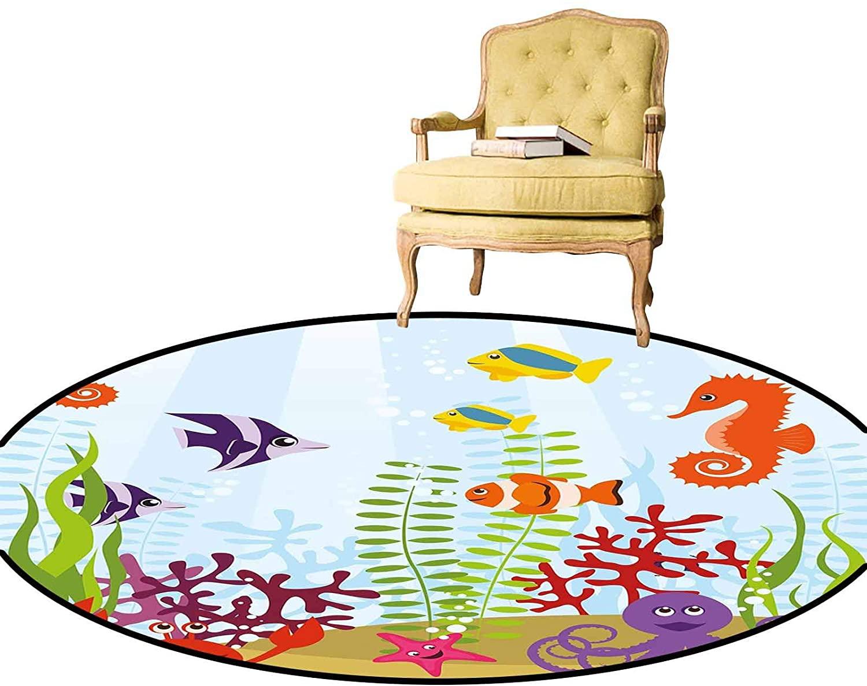 Carpet Friendly Sea Animals Tropical Aquatic Habitat Collection Seahorse Crab Octopus Round Rug Mat Carpet for Bathroom, Bedroom or Sitting Area, Etc Multicolor Diameter - 3 Feet