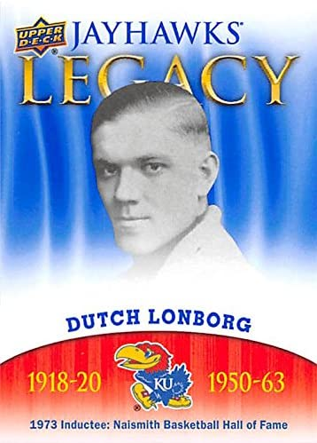 Dutch Lonborg Basketball Card (Kansas Jayhawks, 1973 Hall of Fame Inductee) 2013 Upper Deck Legacy #JL-3