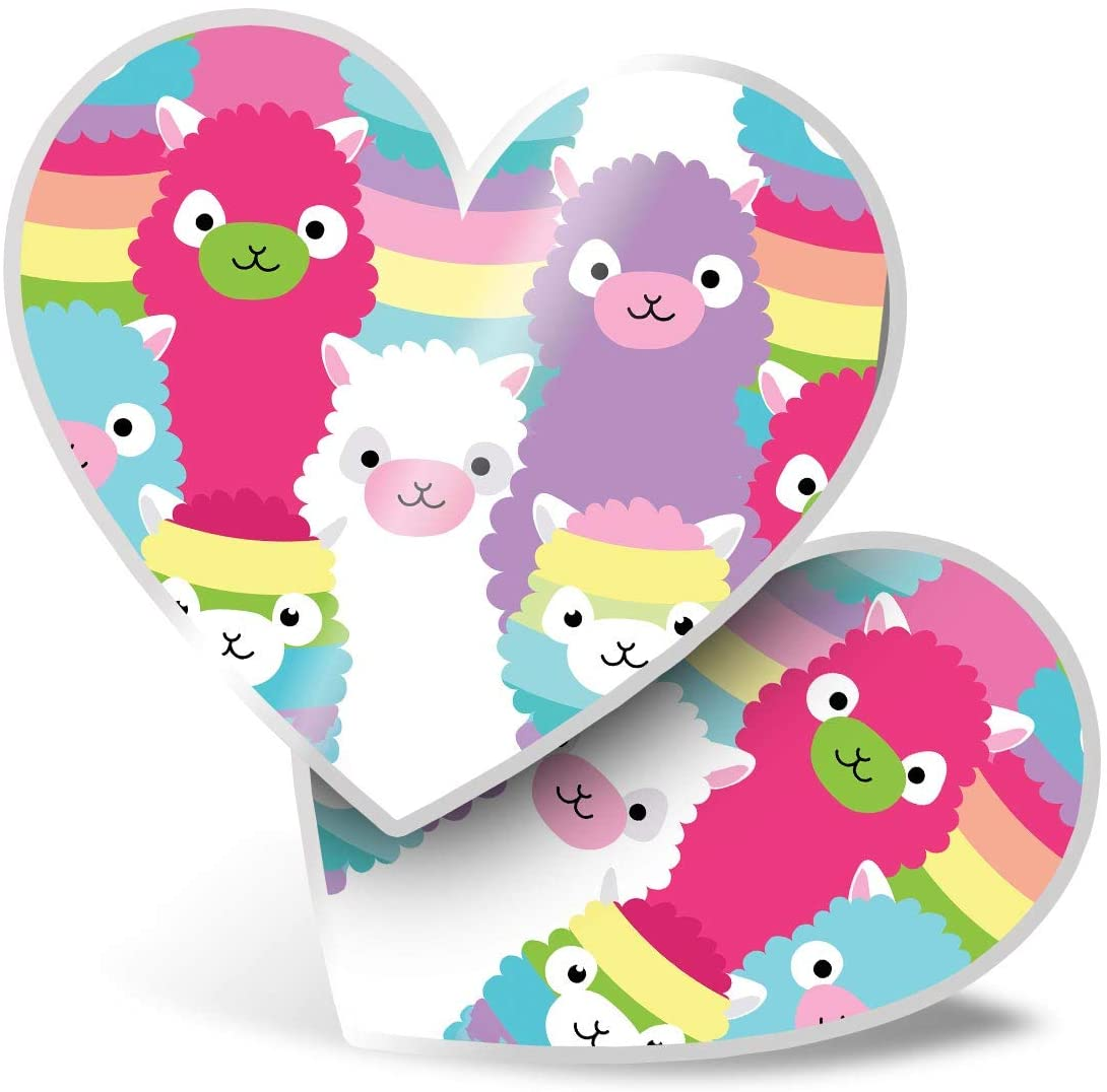 Awesome 2 x Heart Stickers 7.5 cm - Colorful Llama Alpaca Sheep Fun Decals for Laptops,Tablets,Luggage,Scrap Booking,Fridges,Cool Gift #15657