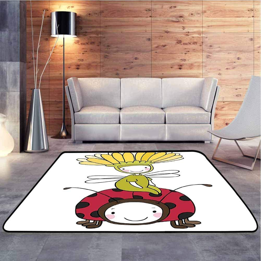 Shag Throw Rug Flower Fairy and Ladybug Hand Drawing Doodle Funny Fantasy Characters Artwork Simple Style Modern Carpet Modern Durable Low Pile Fashionable, 6.5 x 10 Feet