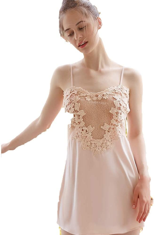BAOMEI Nightgowns Sexy Suspenders Nightdress Ladies Transparent Lace Sexy Lingerie Princess Style Seduction Miniskirt Open Back Lingerie (Color : White, Size : S)