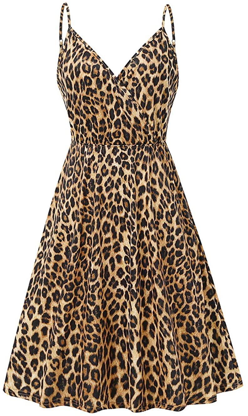 Womens Leopard Spaghetti Strap Mini Dress V Neck Floral Summer Casual Swing Dresses Sleeveless Sexy A Line Sundress