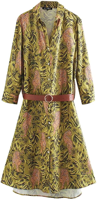 Women 2020 Chic Fashion Animal Print with Belt Midi Dress Vintage Lapel Collar Long Sleeve