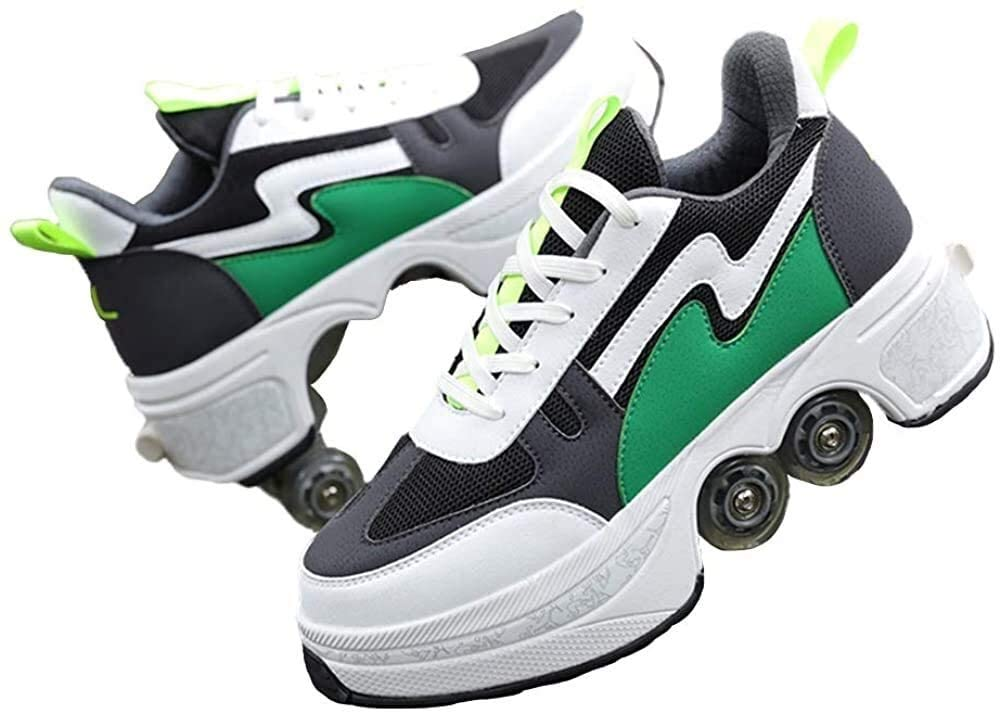 Roller Skates for Girls/Boys - Shoes with Wheels for Adults, 2-in-1 Parkour Shoes, Double-Row Four Rounds Running Shoes Skates Outdoor Sports Roller Shoes, The Best Gift ( Color : Green , Size : 37 )