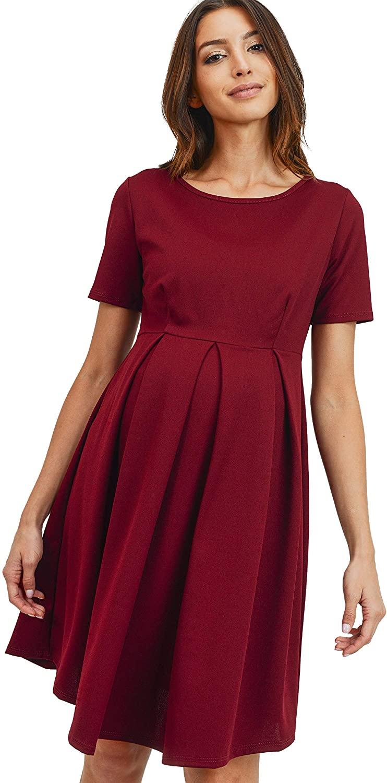HELLO MIZ Women's Maternity Midi Dress with Front & Back Pleat