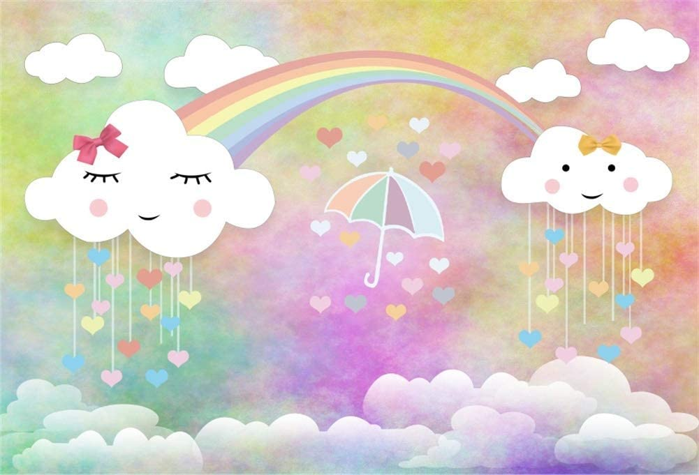5x4ft Photography Backdrop Cartoon Cute Smile White Cloud Rainbow Gold Stars Background Girl Birthday Baby Shower Party Decoration Children Kids Photo Booth Shoot Vinyl Studio Props