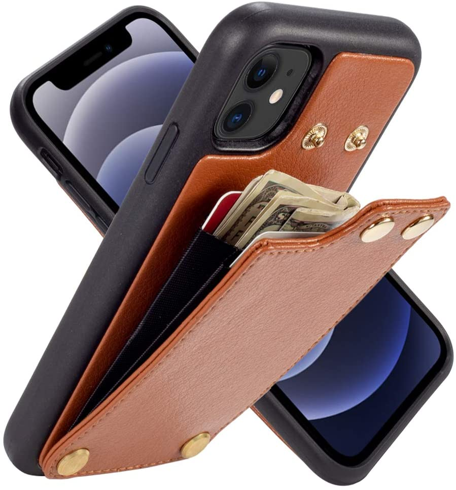 LAMEEKU Wallet Case for iPhone 12/ iPhone 12 Pro, iPhone 12 Pro Wallet Case, Case with Card Holder Slot Shockproof Leather Money Pocket Protective Bumper Cover for iPhone 12 Pro/iPhone 12 6.1'' Brown