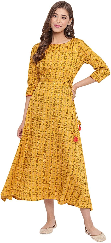 Janasya Indian Women's Mustard Cotton Flex Ethnic Dress