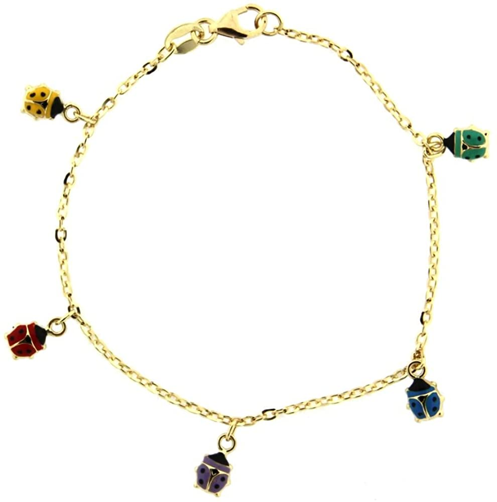 18k Yellow Gold Multicolor Dangling Lady Bugs Bracelet 6 inches