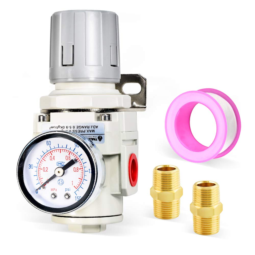 Tailonz Pneumatic 3/8 Inch NPT Mini Pressure Regulator for Compressed Air Systems AR3000,Adjust 0 to 145 Psi