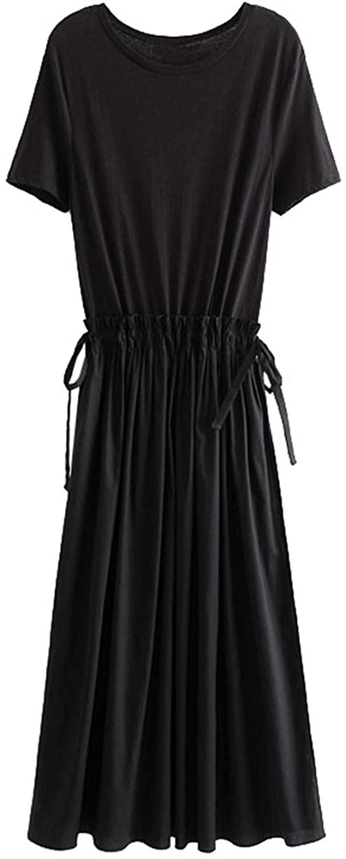 Women 2020 Patchwork Pleated Midi Dress Vintage Short Sleeve Adjustable Ties Slit M
