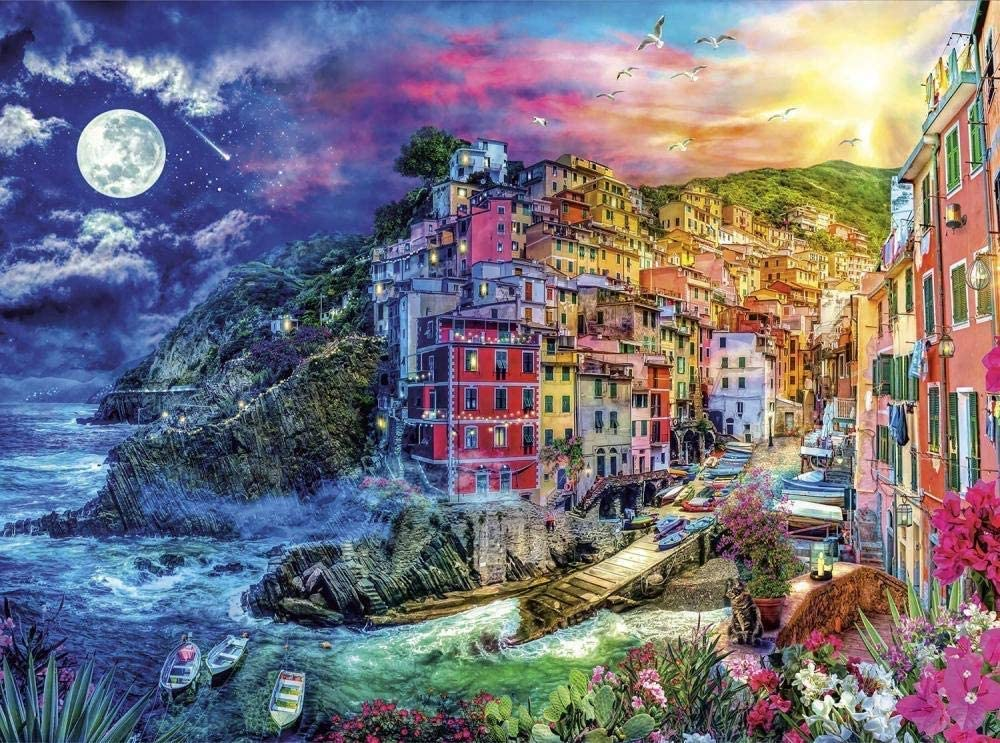 Wooden Puzzle 1000 Pcs Christmas Cinque Terre Splendor Puzzle Holiday Wood Jigsaw Puzzles,Classic Educational Game Toys