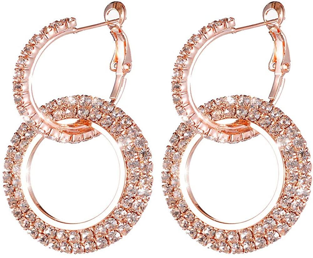 JSPOYOU Earrings for Women Luxury Round Diamond Earrings Women Silver Gold Rosegold Glitter STU