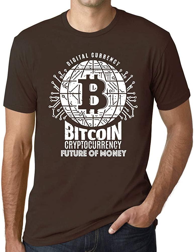 Ultrabasic Men's Graphic T-Shirt Bitcoin Future of Money T-Shirt HODL BTC Tee Crypto Gift Idea Chocolate