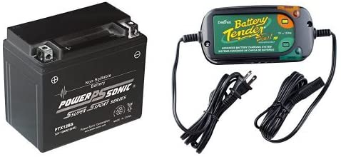 Power-Sonic (PTX12-BS) Sealed Maintenance Free Powersport Battery and Battery Tender 022-0185G-dl-wh Black 12 Volt 1.25 Amp Plus Battery Charger/Maintainer Bundle