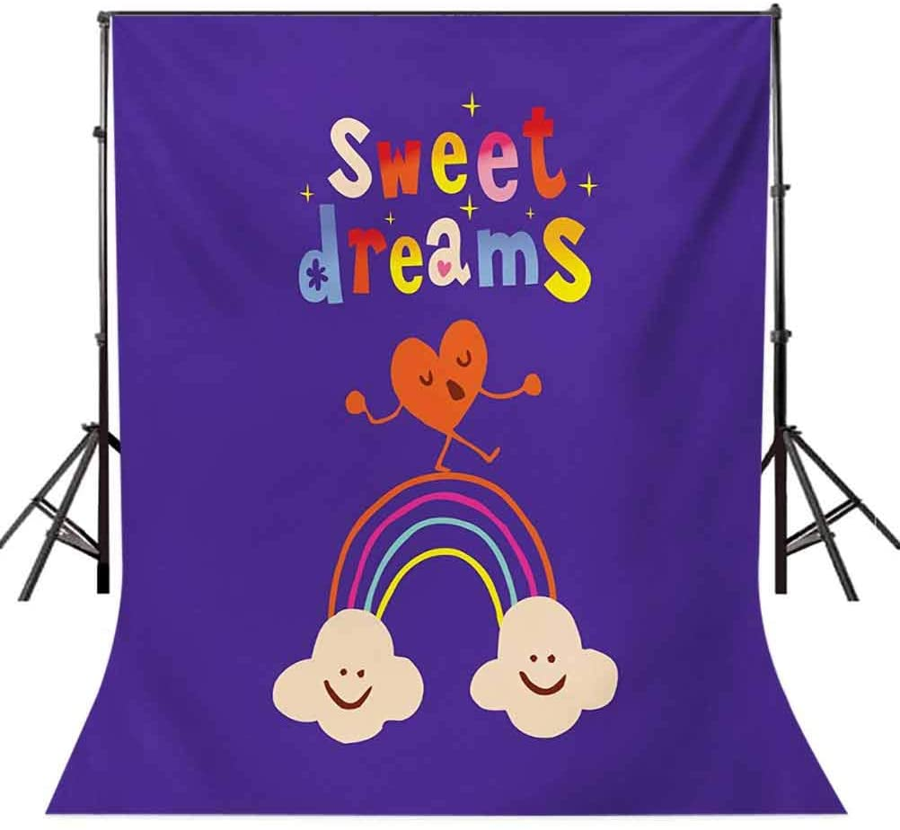 Sweet Dreams 10x20 FT Photography Backdrop, Cute Cartoon Heart Dancing on a Rainbow Between Two Smiling Clouds Colorful Background for Party Home Decor Outdoorsy Theme Vinyl Shoot Props Multicolor