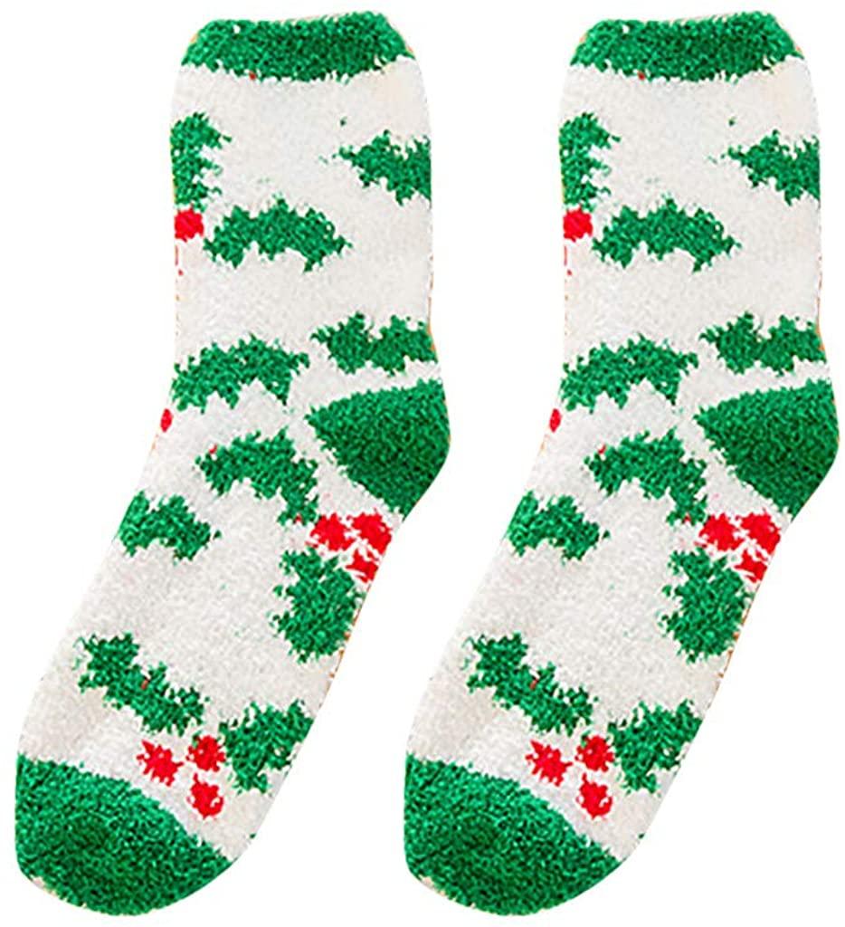 LENXH Women'S Cotton Socks Winter Christmas Stockings Thickened Tube Socks Plus Velvet Towel Socks