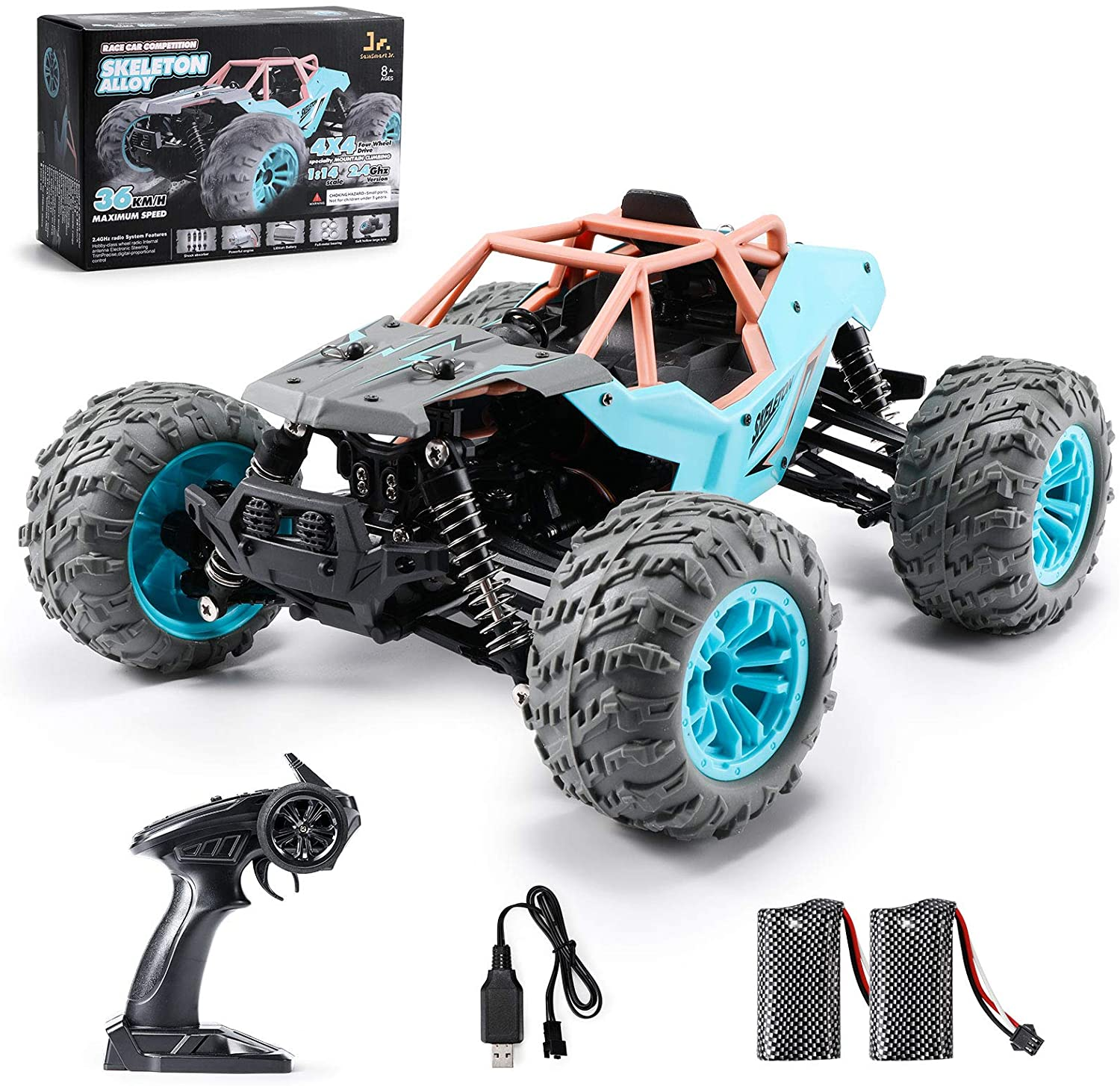 SainSmart Jr. Off Road RC Car 1:14 Remote Control Truck 36KM/H High Speed Monster Rock Crawler, 4x4 All-Terrain Electric Vehicle with Two Rechargeable Batteries for Boy Kids and Adults