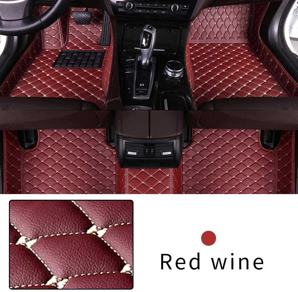 Muchkey Custom Car Floor mat for KIA Rio NIRO K3 K5 Soul Cerato Forte Sportage Optima Opirus Sorento Carens Full Coverage Waterproof Non-Slip PU Leather Carpet Protection Floor Liner Red Wine