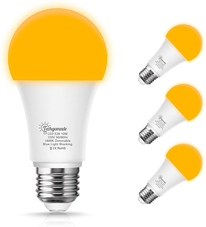 TechgoMade A19 Dimmable Yellow Bulb, Amber Yellow LED Bug Light Bulb, 10 Watt (60W Equivalent) E26 Medium Base, No Blue Light Bedroom Sleep Night Light Bulbs, Warm White Outdoor Porch Light, 4 Pack
