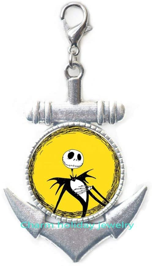 Jack Skellington Anchor Zipper Pull-Christmas Jewelry-Jack Skellington Lobster Clasp Chain Anchor Zipper Pull-Christmas Gift Halloween Gift Bridesmaid Jewelry Unique Jewelry-#347