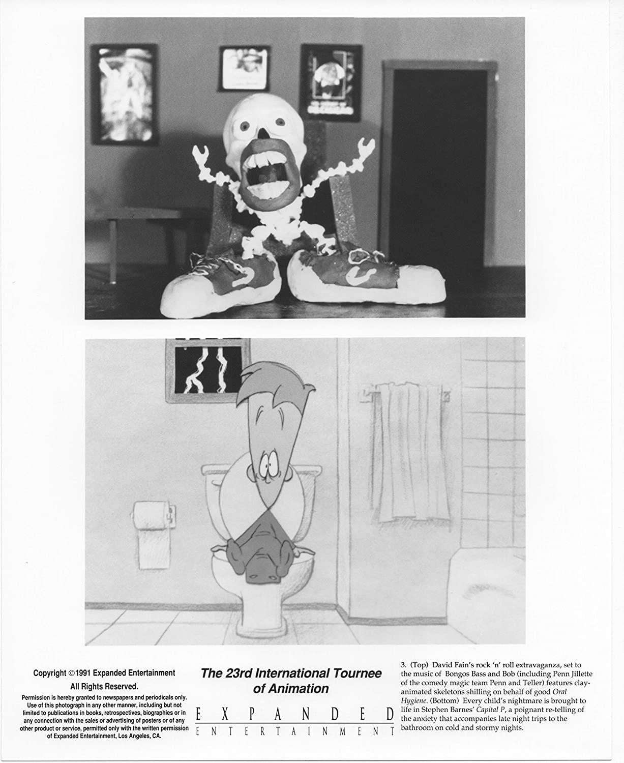 23rd International Tournee of Animation Original Studio Lobby Card Publicity Still Featuring the voice talent of Penn and Teller.