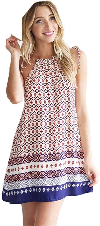Sannysis Summer Casual Sleeveless Strap Backless Beach Mini Dress