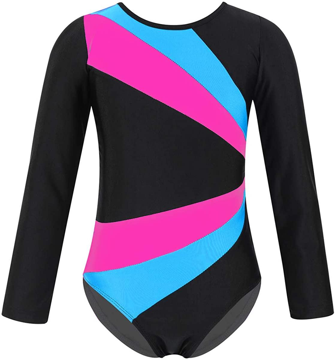 QinCiao Kids Girls Long Sleeve Twist Back Geometric Printed Gymnastics Leotard Bodysuit Athletic Sports Dance wear Shirt