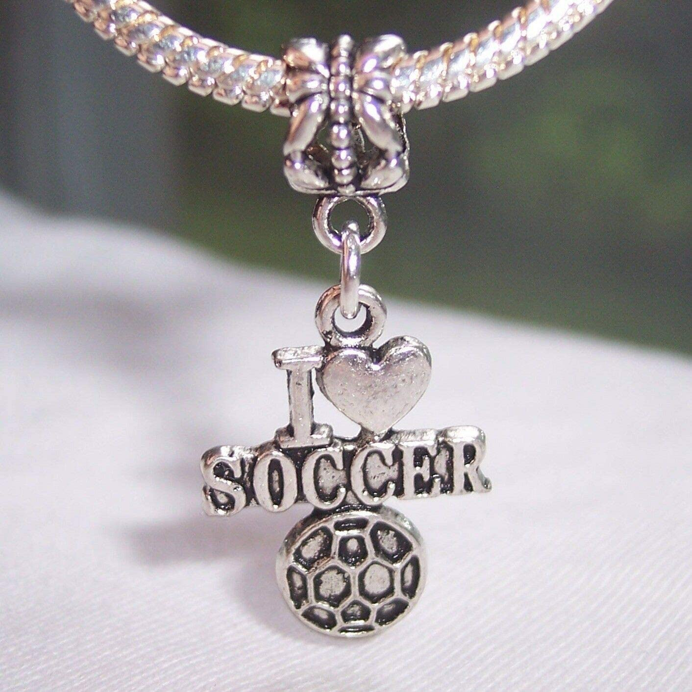 Charm Pendant - Jewelry Making DIY I Heart Soccer Ball Love Sports Word Dangle Charm for European Bead Bracelets