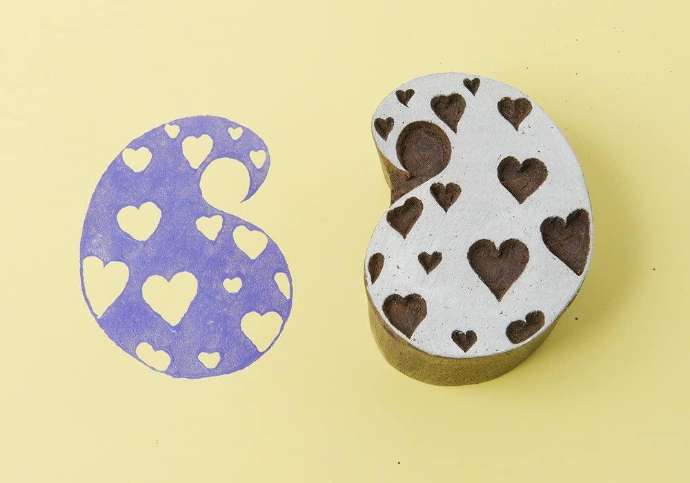 Blockwallah Paisley of Hearts Wooden Block Stamp