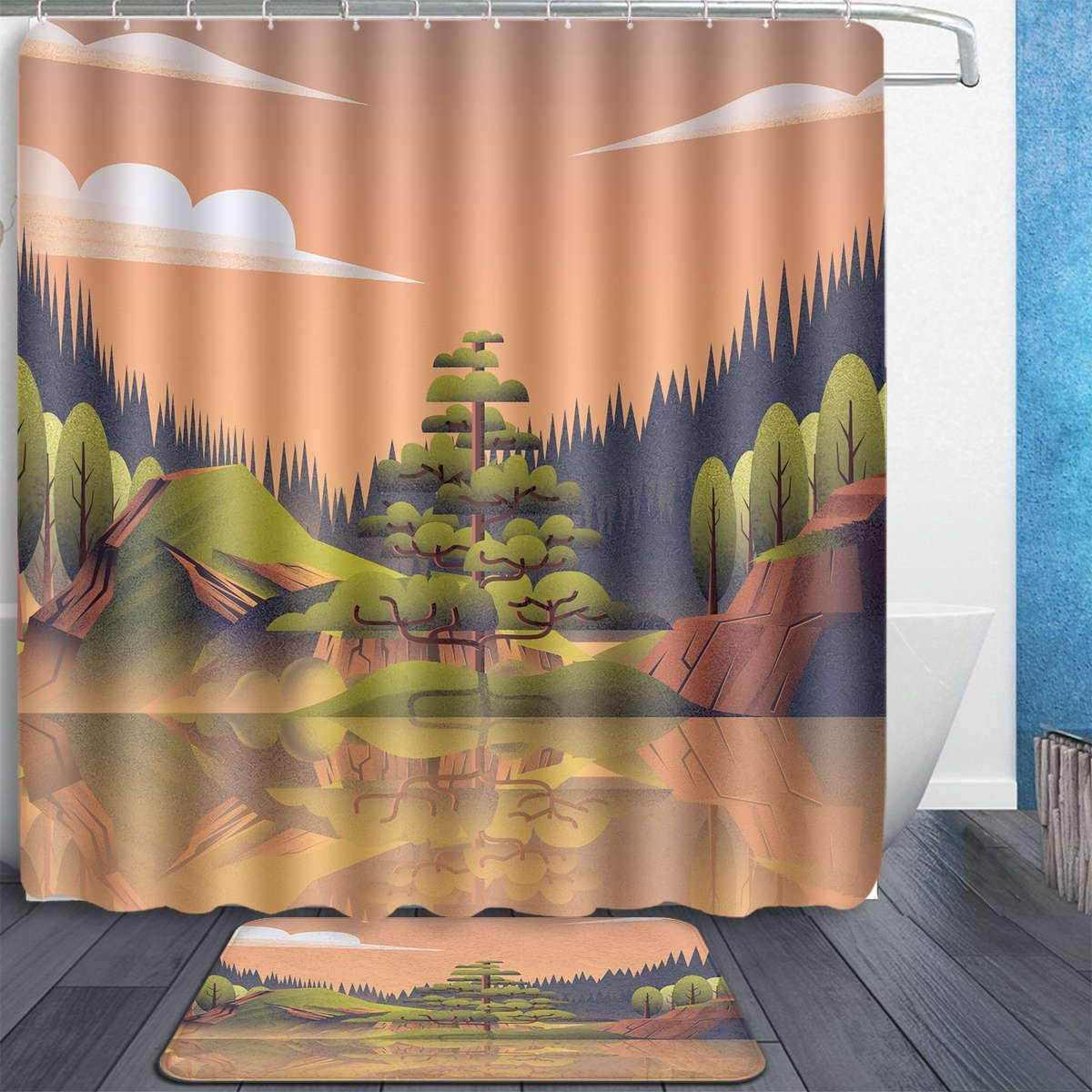 Tidyki Waterfall Stone Forest Spring Plant Lake Shower Curtain and Rug Set Bathroom Fabric Waterproof Home Decor with 12 Hooks and Anti-Slip Absorbent Bath Mat Rugs 60x72