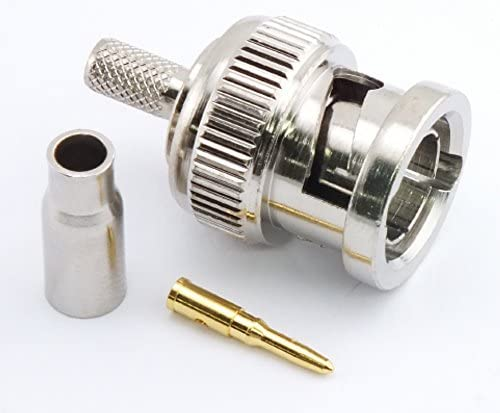 W5SWL Brand Premium Series BNC Male Crimp Coax Connector fits RG-179 Coax Cable - 2-Pack