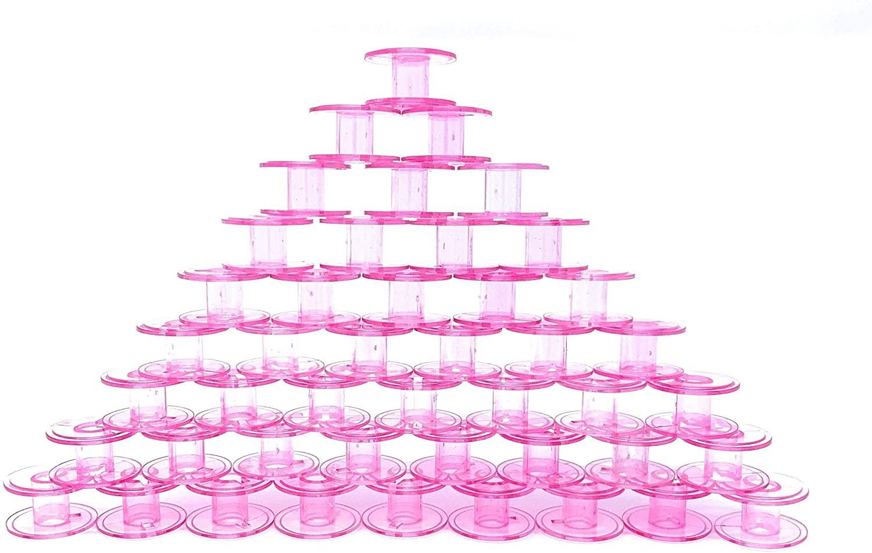 SINGER Class 15 Bobbins, Transparent Pink, 50-Count